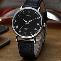 2014 New Lovers Fashion Roman Dial watch Mens Elegant Leather Black Analog Quartz Sport Wrist Watch Women Dress Watch 1091