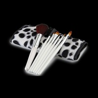7 pcs Soft Synthetic Hair make up tools kit Cosmetic Beauty Makeup Brush Black Sets with Leather Case