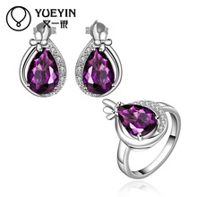 10sets/lotFVRS056 2015 new fine jewelry sets Extravagant Party jewlery set for lady Fashion Big Crystal set Ring and  Earing