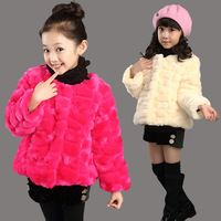 2014 winter child winter fur thickening girls clothing thermal top girl boy outerwear