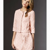 LSTH6686 Europe and the United States women's 2014 autumn new ladies pink cardigan small coat jacket + skirt suit