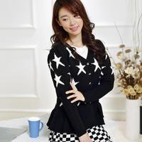 LST2014 autumn new long-sleeved V-neck cardigan sweater  pentagram Jacquard real shot H6651