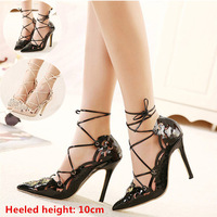 2015 New arrive EUR star style women pumps fashion sexy hollow out pointed toe bandage stiletto high heels plus size shoes woman