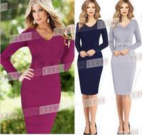 2015 New European Fashion Autumn Winter Women Elegant Bow Long Sleeve Plus Size Celebrity Bodycon Party Office Work Dresses
