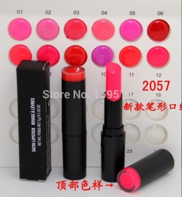 Wholesale - FREE SHIPPING NEW makeup NEW SATIN LIPSTICK rouge LIP STICK 3g (1PCS/LOT)(China (Mainland))
