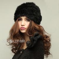 New 100% Rabbit Fur Hat Winter Handmade Knitted Warm Hat Knit Hat Woman Fashion Hat