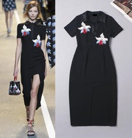 High Quality New Fashion Design Dress 2015  Spring Woman Floral  Embroidery Turn-Down Collar Sexy Dovetail Runway Dress Party
