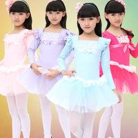 Pink Lycra Cotton Full-Sleeve Ballet Dress for Girls Ballet Tutu Children Gymnastics Leotard Women Skate Party Costume LD028