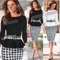 Hot Selling 2015 New European Fashion Women Elegant Ruffles Black White Plaid Patchwork OL Celebrity Bodycon Vestidos Dresses