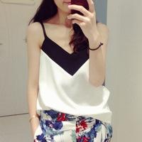 Korean women's summer 2015 new V collar black sling straight chiffon vest summer girl