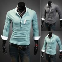FallWinter Mens Cotton Chest Pocket Slim Fit Long Sleeve T Shirt 1371