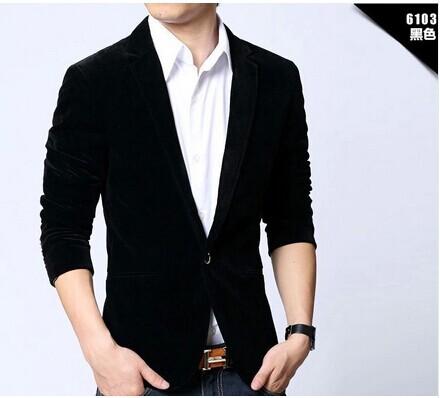 Mens blazers 2014 slim fit cotton velvet male jacket spring and autumn red navy black blue notch lape