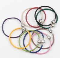 New 25 Colors zinc alloy Genuine Oxhide Real Leather Charm Chains Bracelets 17cm 19cm 21cm fit European Beads