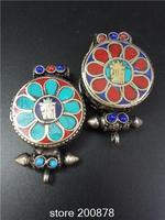 TGB250 Tibetan Antiqued Mantras Flower Prayer Box Pendants KALACHAKRA Tibet Gau Amulets Ghau Wholesale Tibetan Amulets