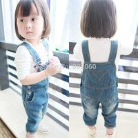 wholesale 20pcs children's clothing girls pants solid denim overalls via express shipping
