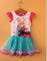 2015  design free shipping frozen girl girls short sleeve dress anna and elsa bowknot