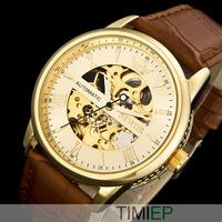 New 2015 Unique Transparent Skeleton Men Mechanical Automatical Wrist Watch