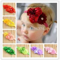 New Hot Sale Baby Shabby Flower Headband Double Rose Hairband with Rhinestone Floral Chiffon Beautiful Headwear Photo Props