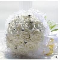 (18 pcs/bouquet) 2015 High quality wedding flowers white simulation bride holding flowers