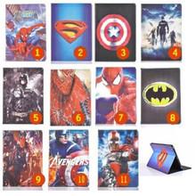 Cartoon Stand tablet case cover for apple ipad mini & mini 2 Spider-Man Captain America The Avengers Iron Man Batman For kid boy(China (Mainland))