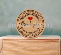 Seal Sticker. Kawaii round kraft seal sticker, 'Handmade with Love' sticker, kraft paper material, free shipping(aa-658)
