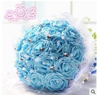 (18 pcs/bouquet) 2015 blue flowers bride bouquet wholesale wedding gifts