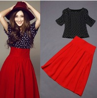 New Arrival 2015 Spring Summer 6XL Plus Size Women's One-Piece Dress Polka Dot Short-Sleeve Expansion Bottom Red Sexy Dress Set