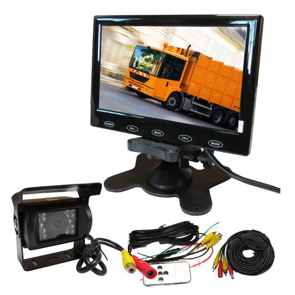 "Wholesale 12V - 24V Truck Van Car Rear View Camera System + 7"" Touch Reverse Monitor + Back up AV Camera In Stock Free Shipping(China (Mainland))"