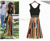 Free shipping 2014 New Fashion Chiffon Dress irregular stripe T-shirt personality vest casual dress gift