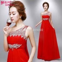 2014 Evening Dresses one shoulder diamond high waist formal dress lf8016