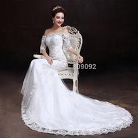 2014 slit neckline fish tail wedding dress half sleeve lace short trailing
