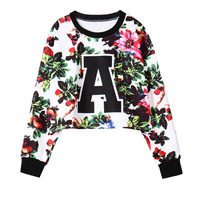 new autumn female zipper flower print loose long-sleeved sweater free shipping