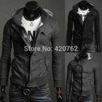 New 2014 Winter Mens Fashion Sweatshirt Slim Fit Hoodies Jacket Casual Coat 2 Color Plus Size L XL 2XL 3XL Hot Sale