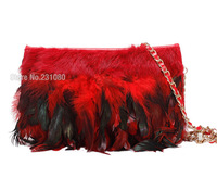 Quality Luxury Angora + Feather Messenger Handbag Women Leather Clutch Casual Fashion Shoulder Bags Free Shipping