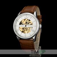 New 2015 Men's Dress Skeleton Men Mechanical Automatical Wrist Watch Sliver