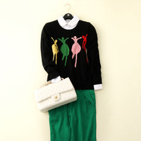 Free shipping new 2014 woman winter clothes winter sweater slim pure cashmere O-neck wool women sweaters and pullovers