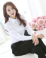 2014 New White Shirt Women Cardigan Work Wear Long Sleeve Tops Slim Women's Blouses & Shirts S M L XL XXL G105