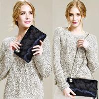 New fashion horsehair clutch small casual handbag genuine leather bags chain fur bag women handbag