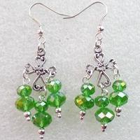 (Min.order 10$ mix)Super Star Fashion Girl Tibetan Cross With Green Crystal Handmade Earrings Wholesale Price