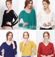 Hot Sale New 2014 Spring Fashion Long Sleeve Tops Women V Neck Hollow Out Chiffon Blouse Shirt Plus Size 4XL Blusas Femininas
