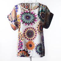 Plus Size New Fashion  Summer Women Print Chiffon Shirt Vintage Birds /Dot/Heart Printed Batwing Sleeve T Shirts