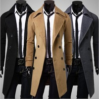 2014 Winter New Casual Breasted Men's Overcoat Unique Slim Outwear Long Design Double Breasted Wool Men Coat M~XXL
