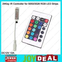DC12V 12A Mini IR RGB Controller with 24Keys IR Remote Control for 5050/3528 RGB LED Striplights