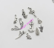 Mixed Tibetan Silver Plated Mermaid Girls Cupid Angel Charm Pendant Jewelry Making DIY Craft Handmade Wholesale