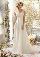 Best Seller Chiffon A Line Garden Wedding Dresses Draped Sweep Train Wedding Gowns Appliques Backless Bridal Dresses New 2016