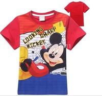 New Arrival 2015 Summer Hot Mickey Cartoon Top Kids Short Sleeve T-shirt Childrens Tee Aged 2-8yrs Wholesale fashion boys tshirt