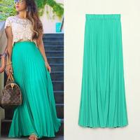 2015 Fashion New Casual Summer Girl Fashion Chiffon Boho Beach Pleated Elastic Waist Full Long Skirt