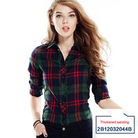 Winter warm women cotton Brushed women shirts plaid blouses thicken pattern ,BL-670