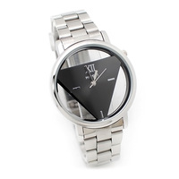Free Shipping New Mens Womens Silver Black Stainless Steel Triangle Dial Quartz Wrist Watch #L05681