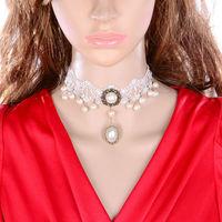 DL3333 Wholesale 12pcs/lot Fashion Gothic black false collar lace necklaces & pendants short design chain women accessories